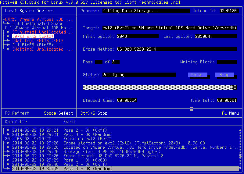 Active@ KillDisk for Linux. Progress