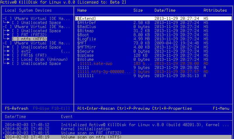 Active@ KillDisk Console. Files Preview