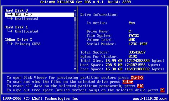 Active@ KillDisk DOS Application 1