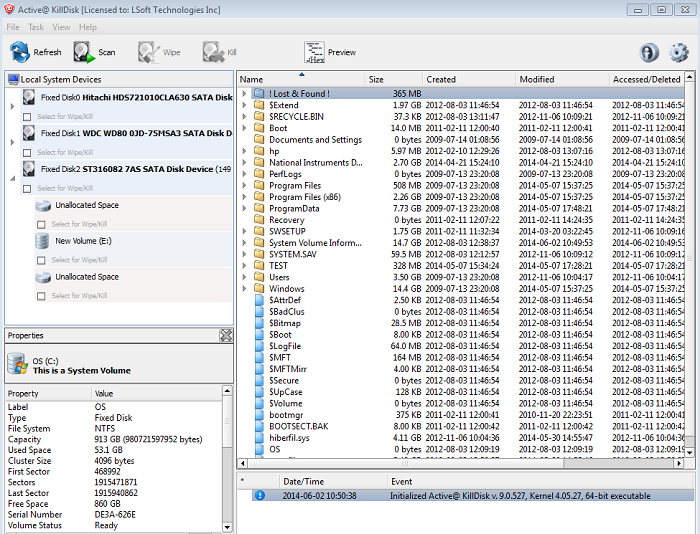 Active@ KillDisk Windows. Erasing Data from Hard Disk. Preview Files.